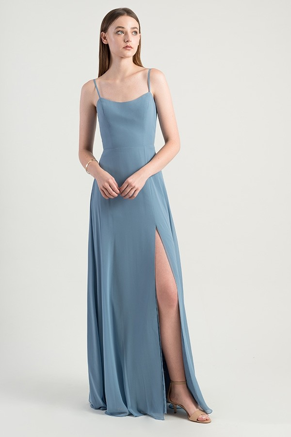 Front of Kiara with simple spaghetti strap and slit design by Jenny Yoo Bridesmaids
