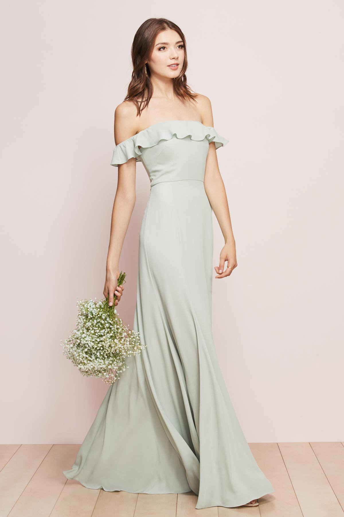 WTOO by Watters Bridesmaids style 751 Isabella A line strapless full length dress with cold shoulder flutter sleeve