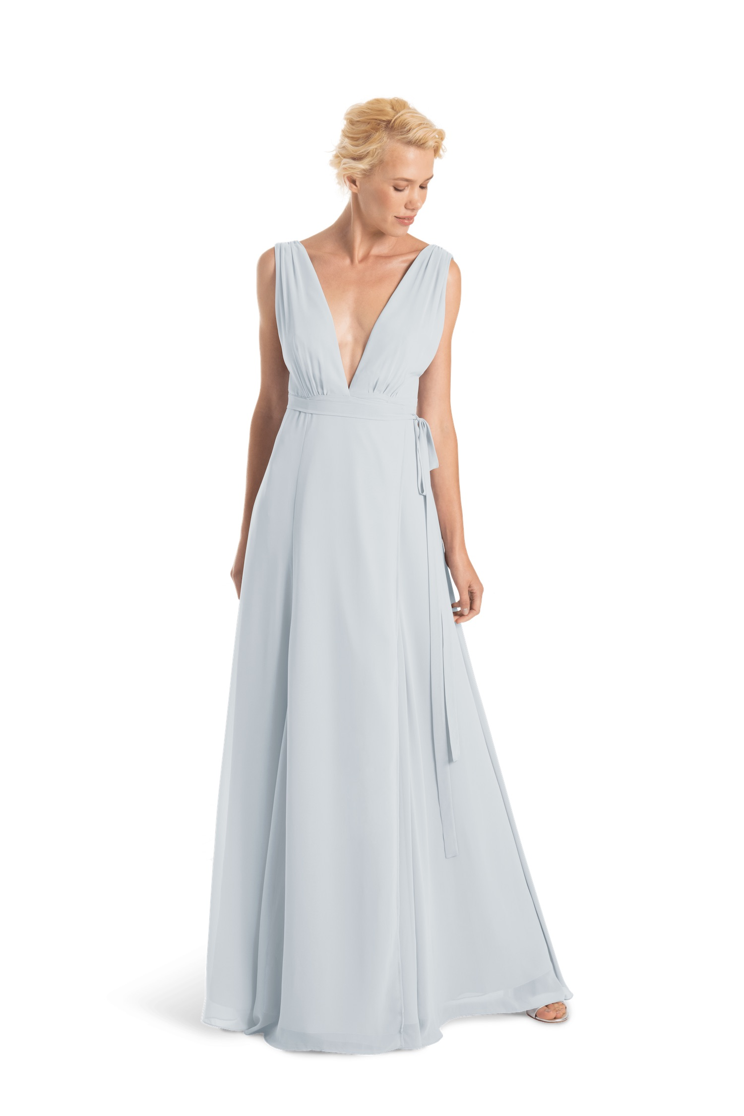 Romy Long by Joanna August in Morning Dew light blue with deep v neckline in chiffon