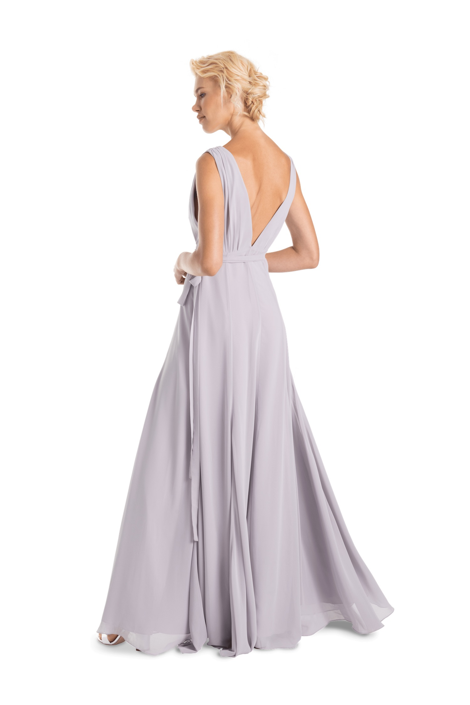 Romy Long by Joanna August deep v back in silver bells chiffon