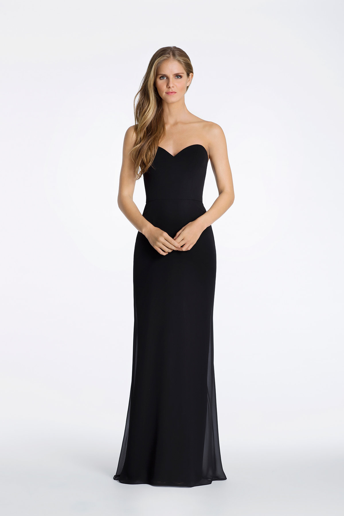 Simple a line gown with sweetheart neckline by Hayley Paige Occasions style 5621