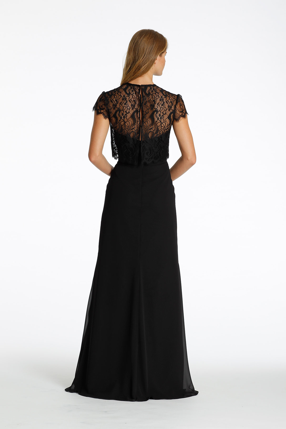 Back of style 5621 by Hayley Paige Bridesmaids showing lace jacket opening