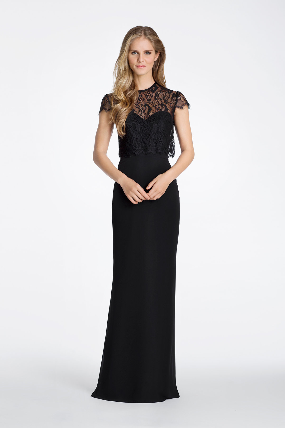 Mother of the Bride dress by Hayley Paige in black chiffon and lace