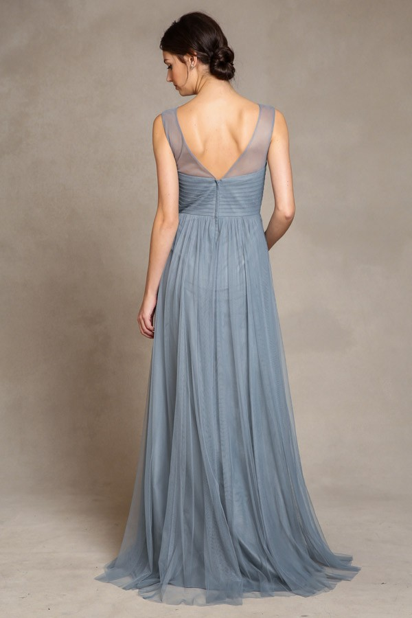 High neck Aria by Jenny Yoo Bridesmaids in mayan blue soft tulle