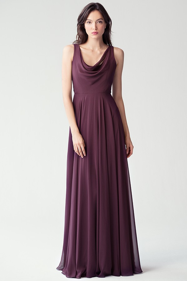 Cowl neck style Liana by Jenny Yoo Bridesmaids in Black Currant deep purple luxe chiffon