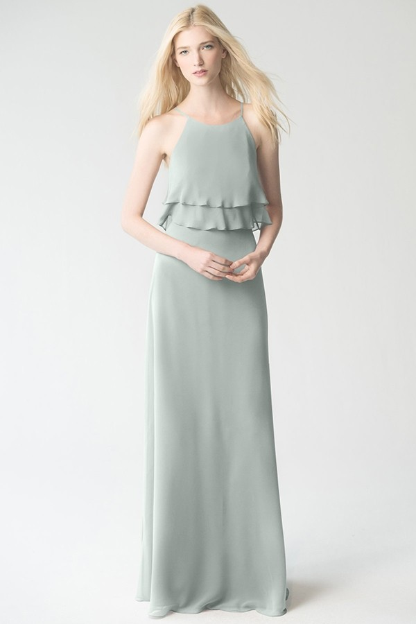 Charlie by Jenny Yoo Bridesmaids in morning mist sage green luxe chiffon