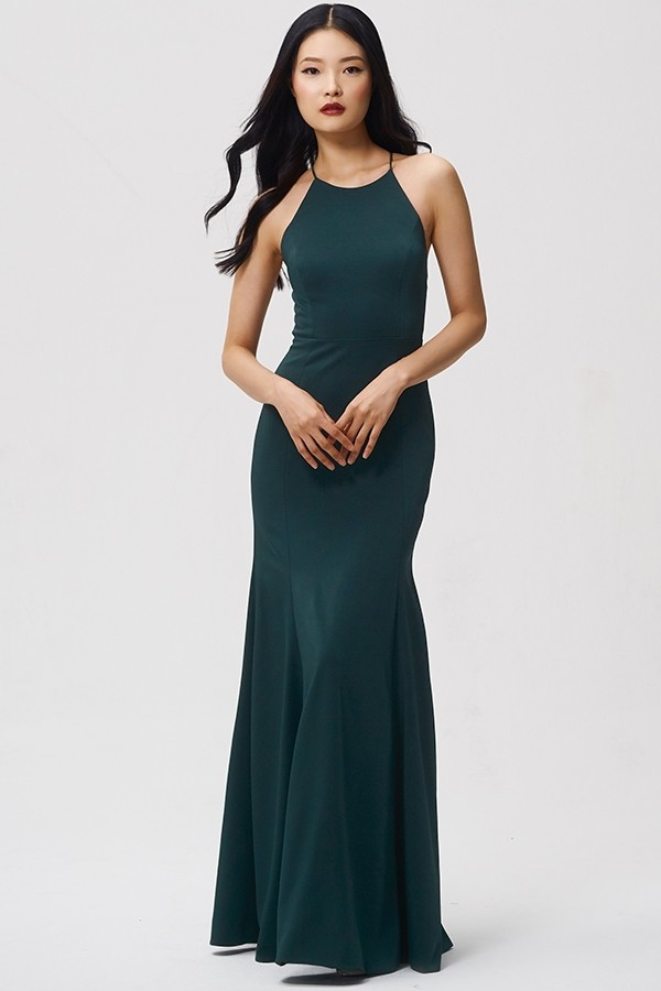 High neck Naomi by Jenny Yoo Bridesmaids in Emerald Luxe Crepe