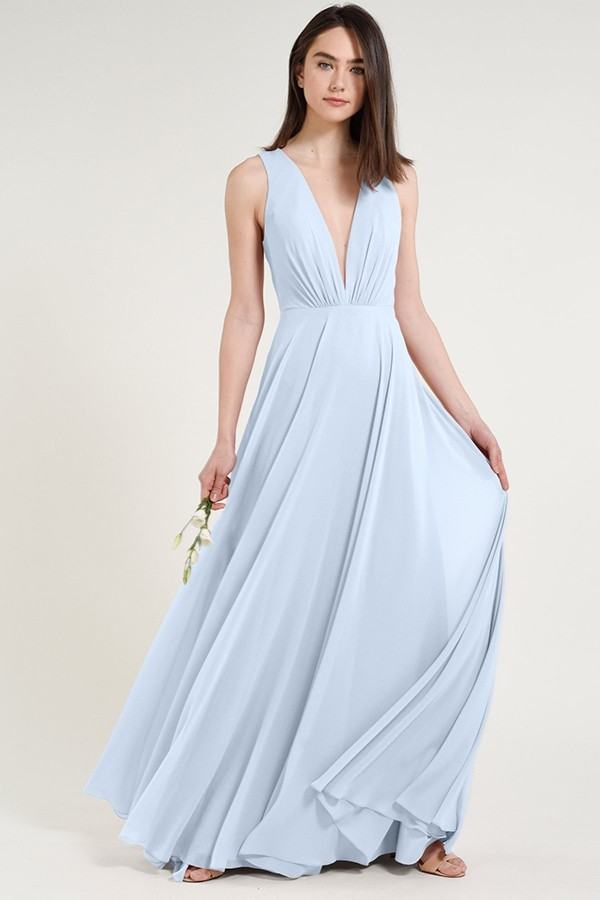 Whisper Blue chiffon style Ryan with Deep V detail by Jenny Yoo Bridesmaids