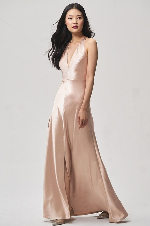 Satin back crepe style Corinne with halter straps by Jenny Yoo Bridesmaids