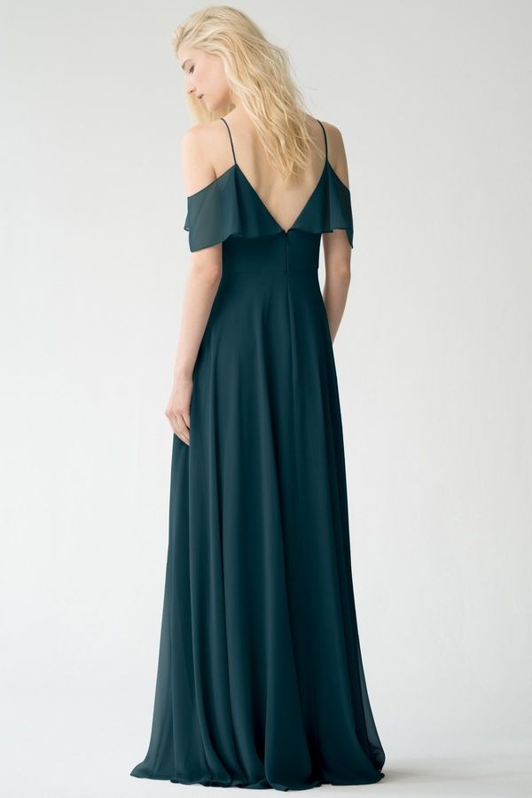 Back detail of cold shoulder style Mila by Jenny Yoo Bridesmaids in luxe chiffon
