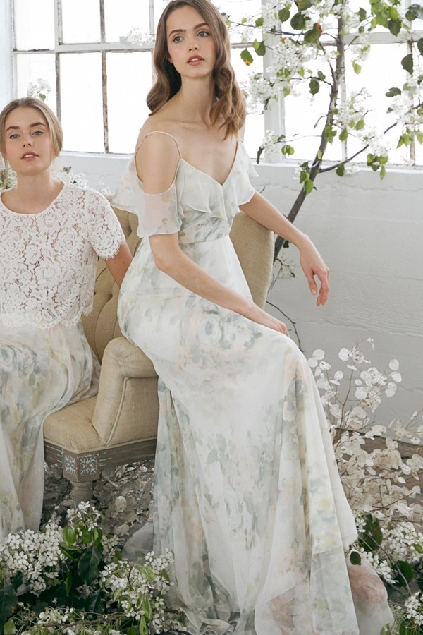 Mila in Ivory Sage Vintage Floral Watercolor multi by Jenny Yoo Bridesmaids