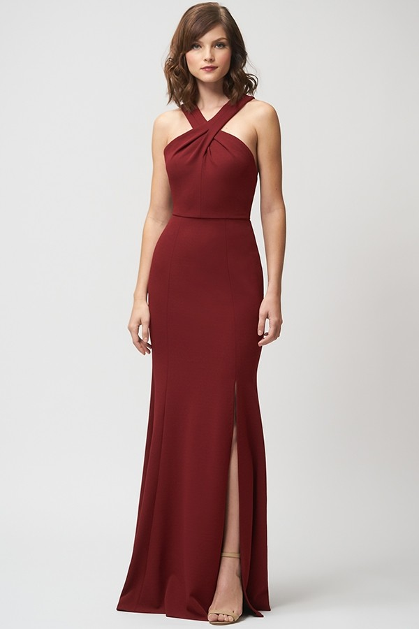 Halter style in knit crepe by Jenny Yoo Bridesmaids Kaleigh