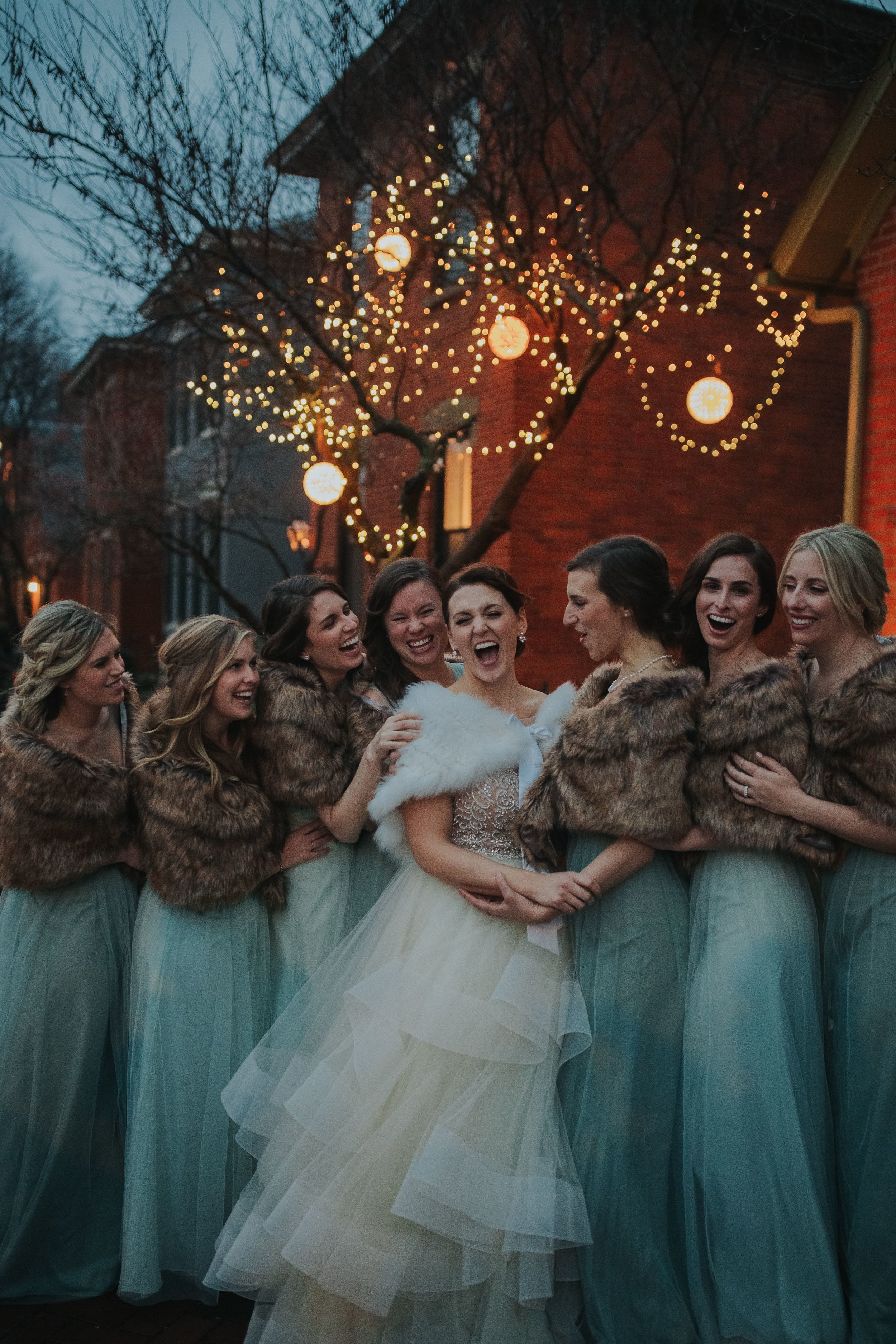 Bridesmaids in furs with Jenny Yoo Style Annabelle in German Village Columbus Ohio
