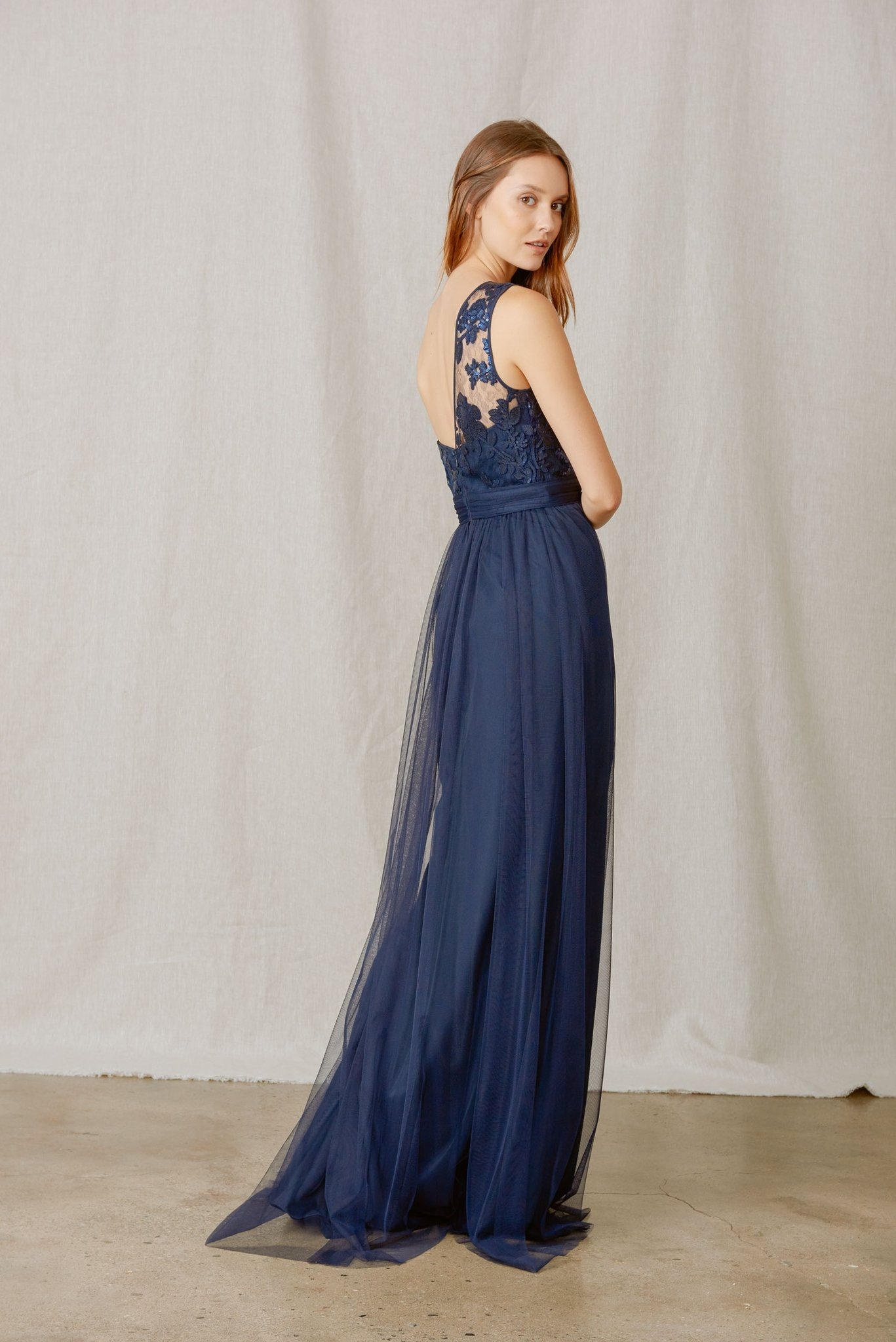 One shoulder detail of Amsale Bridesmaids style Ashlynn