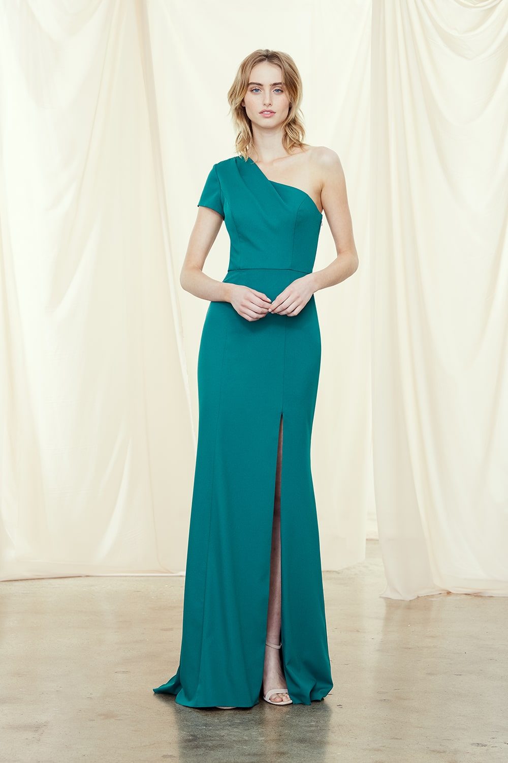 One Shoulder style Nadia in lagoon teal crepe by Amsale Bridesmaids