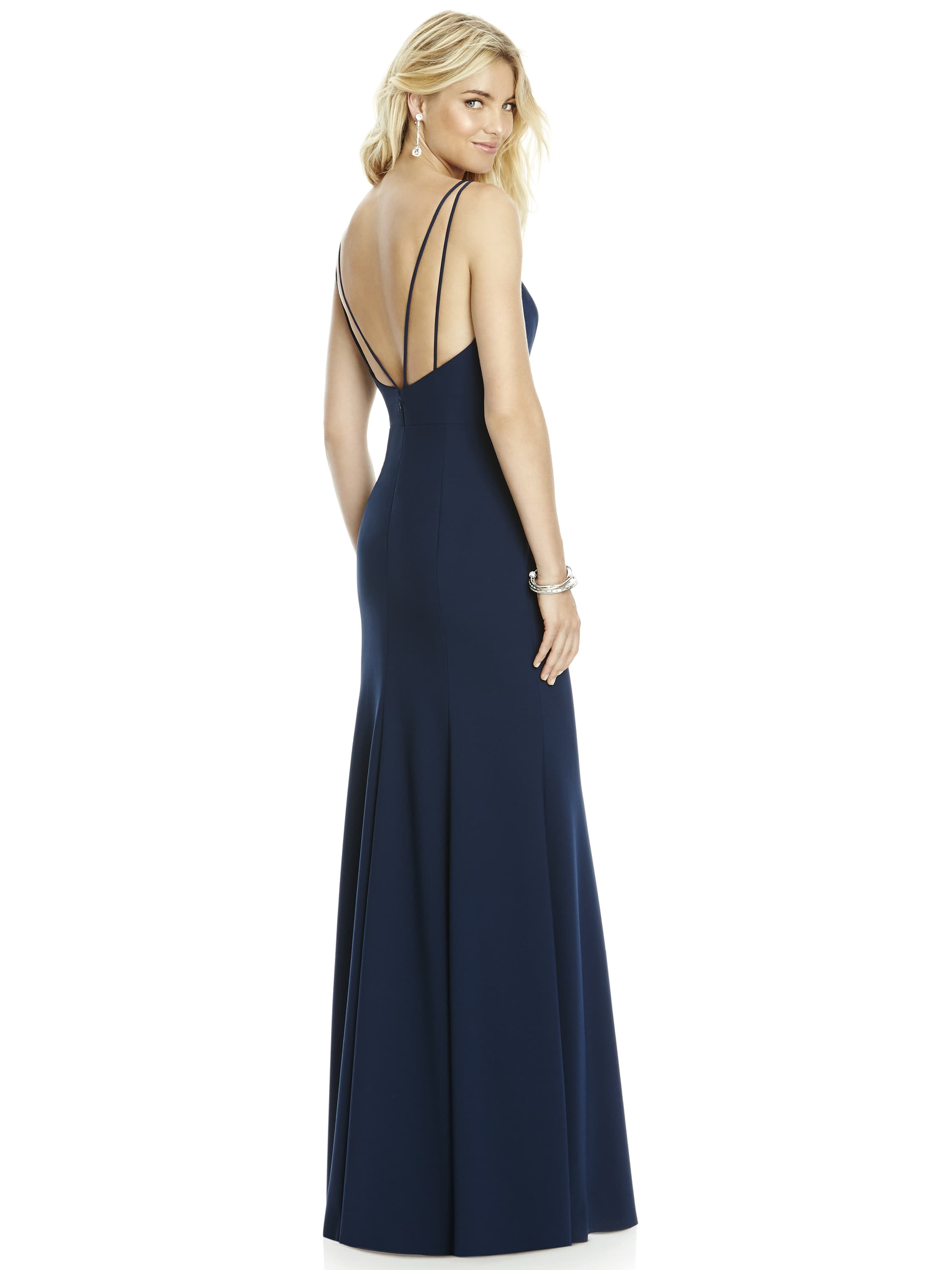 Style 6758 by Dessy Group in midnight navy crepe
