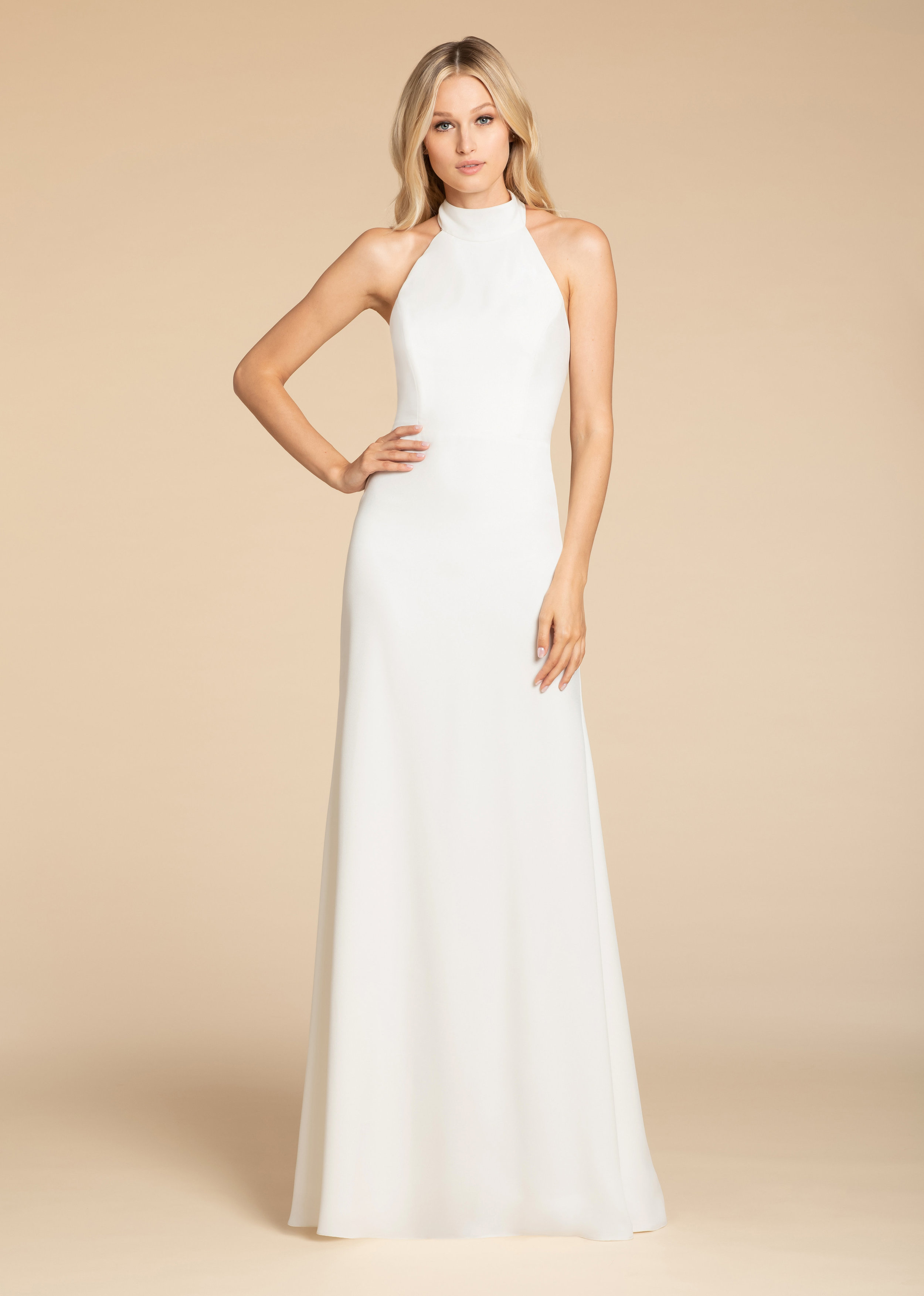 Hayley Paige Bridesmaids style 5900 Ivory crepe A-line gown, racer mock turtleneck, natural waist, strap detail at back