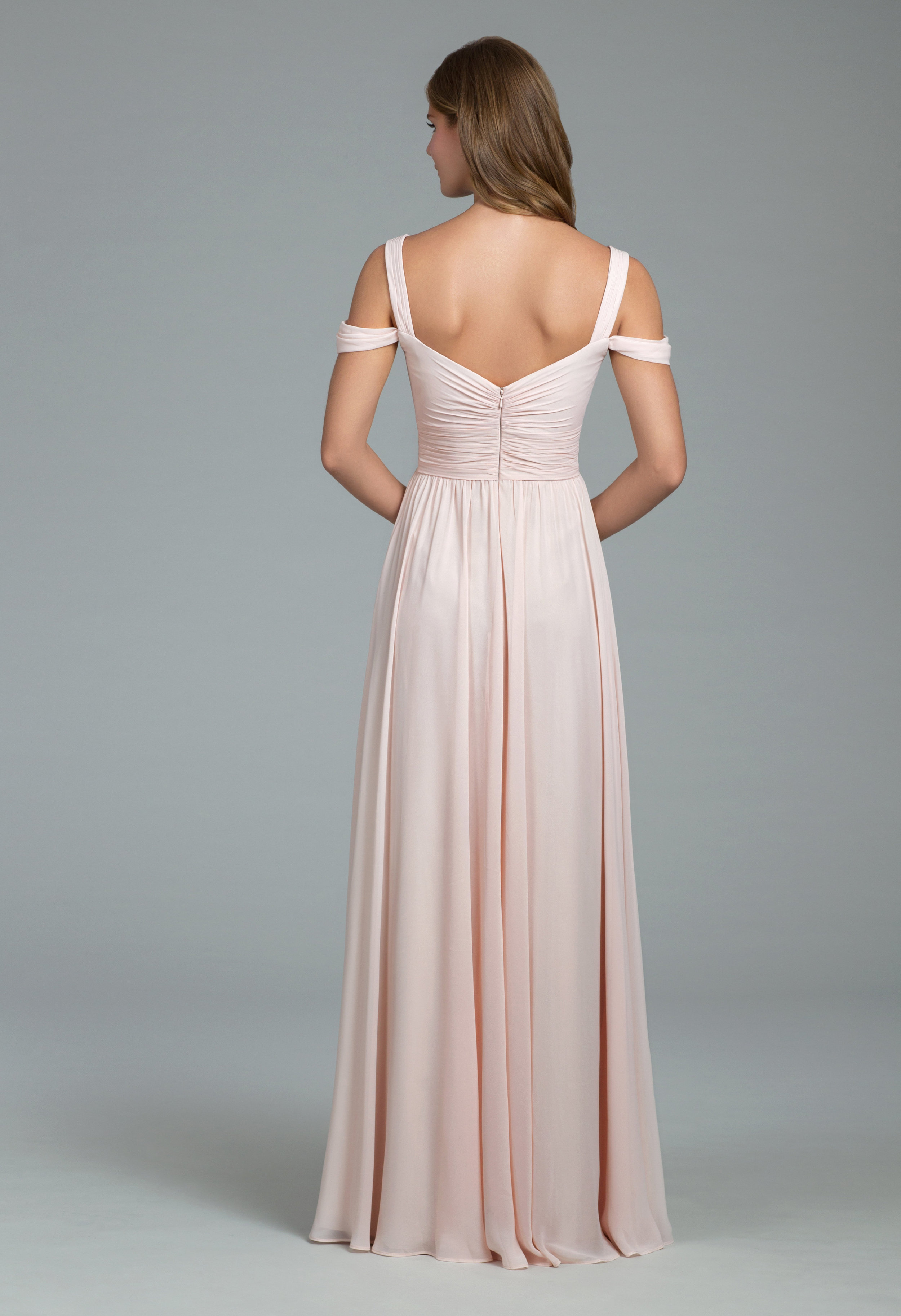 Back of Hayley Paige Occasions style 5801 and 5820 in blush chiffon