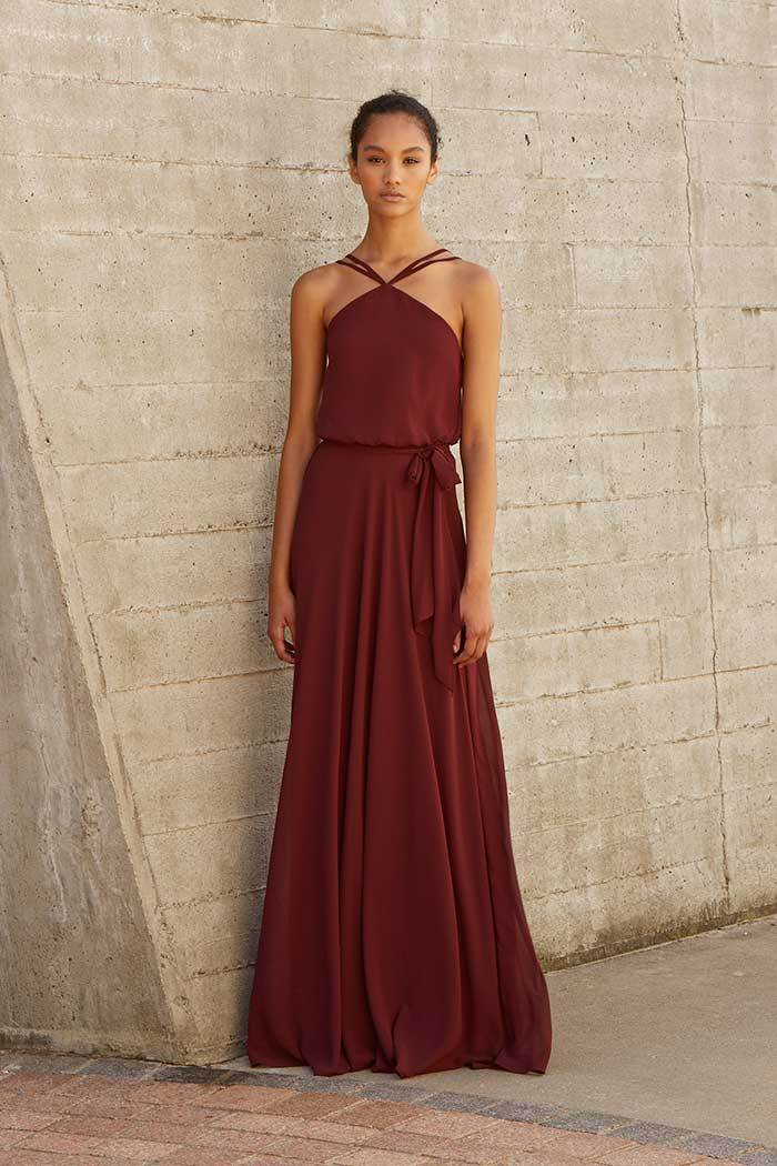 Norah by Nouvelle Amsale Bridesmaids in Ruby chiffon
