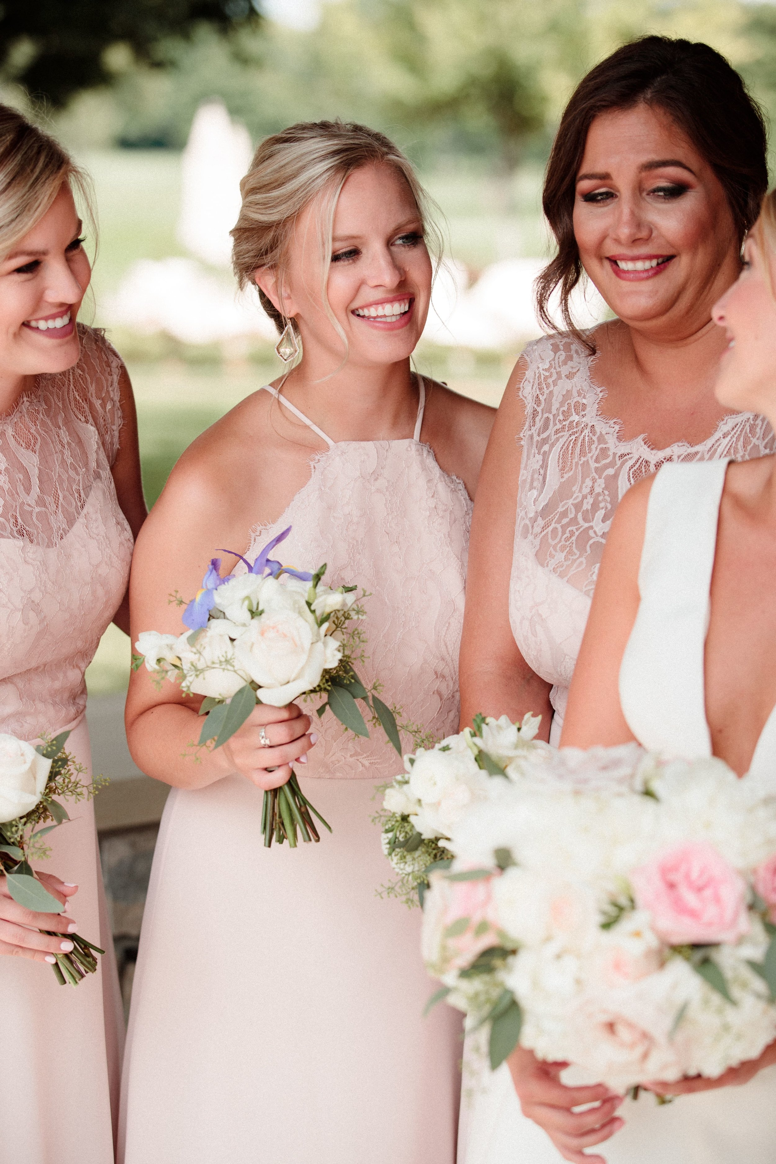 Hayley Paige Occasions bridesmaid in style 5715 in blush over cashmere