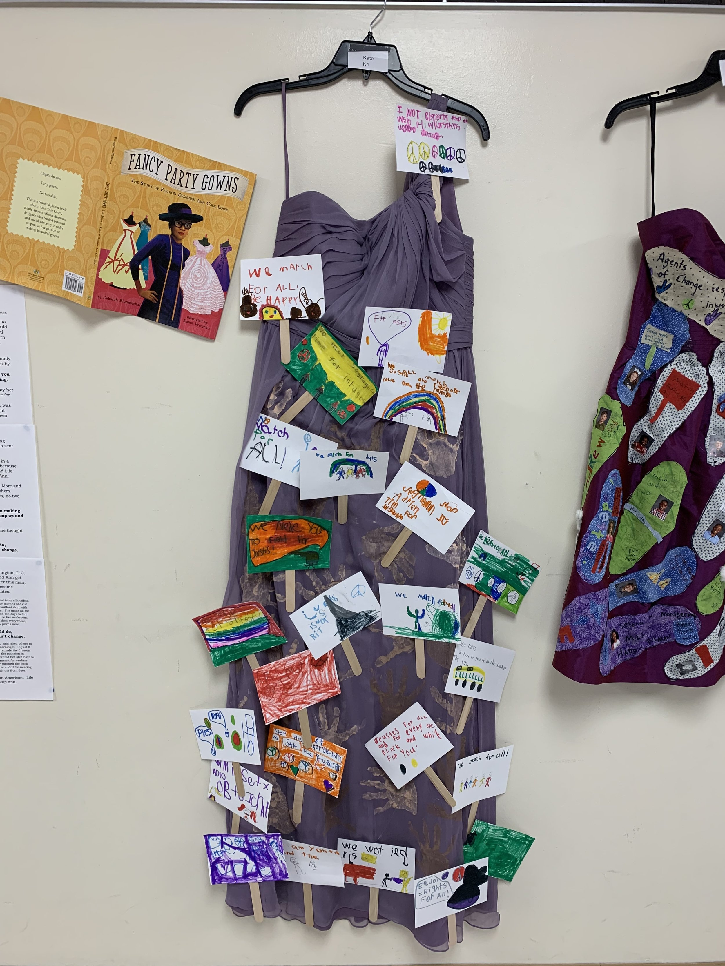 Haute couture unit by Dramatic Impact uses dresses at Indianola Elementary School