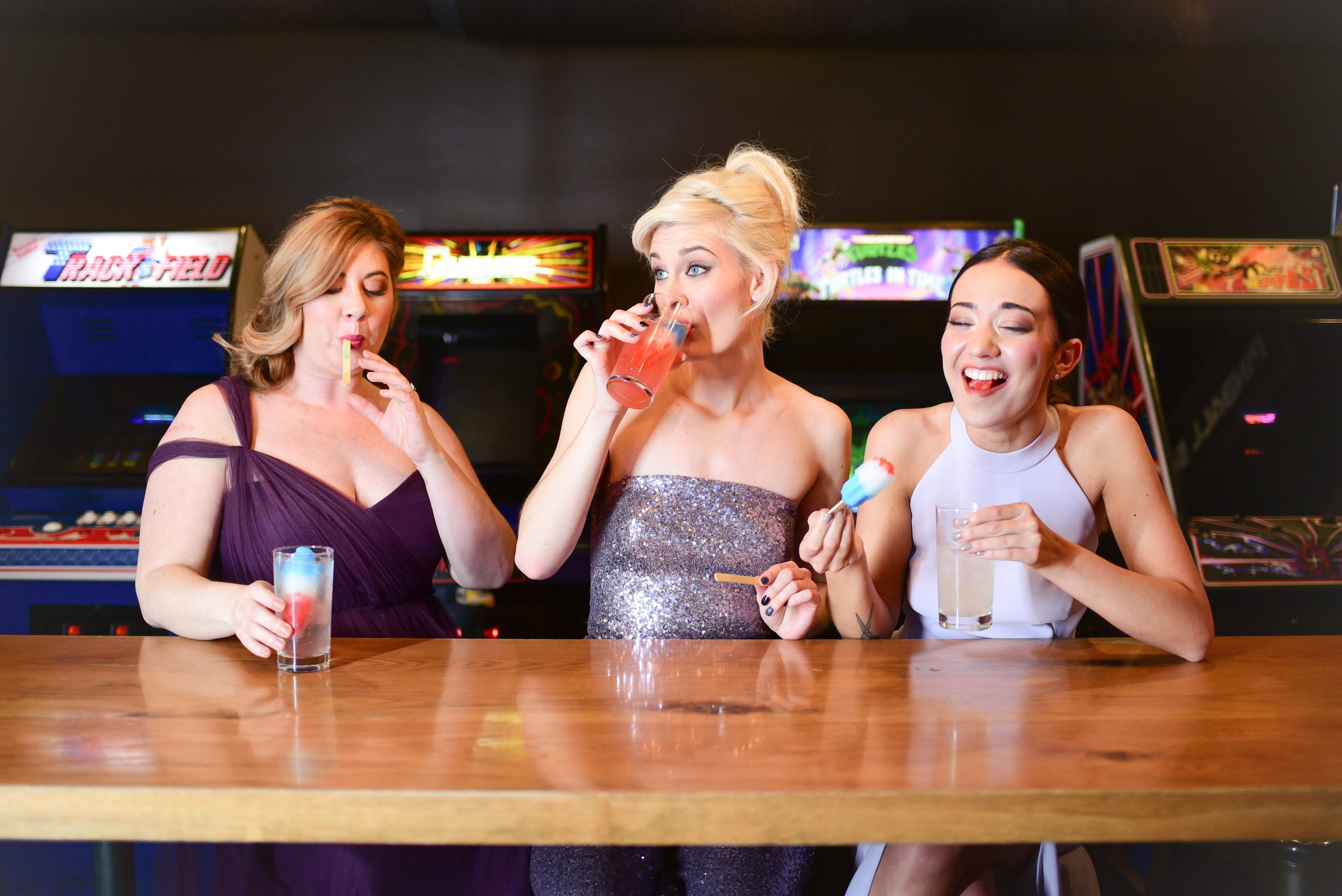 16-Bit Bar and Arcade styled shoot in Columbus Ohio featuring dresses by Gilded Social