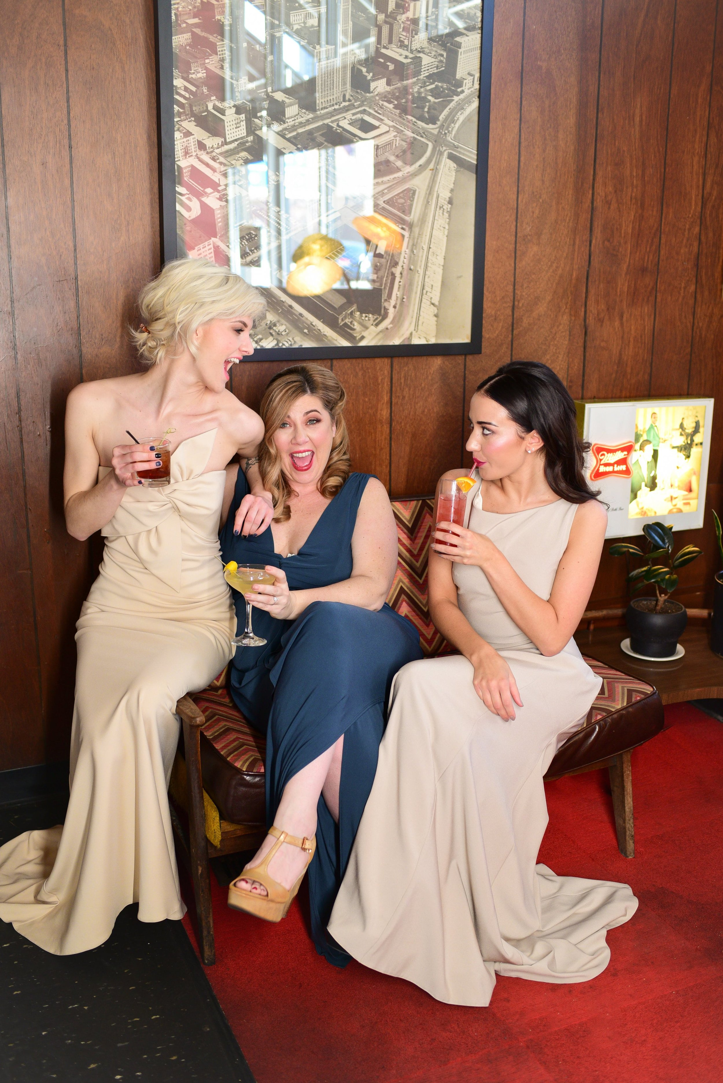 Little Palace retro glam look featuring Theia and Katie May Bridesmaid dresses