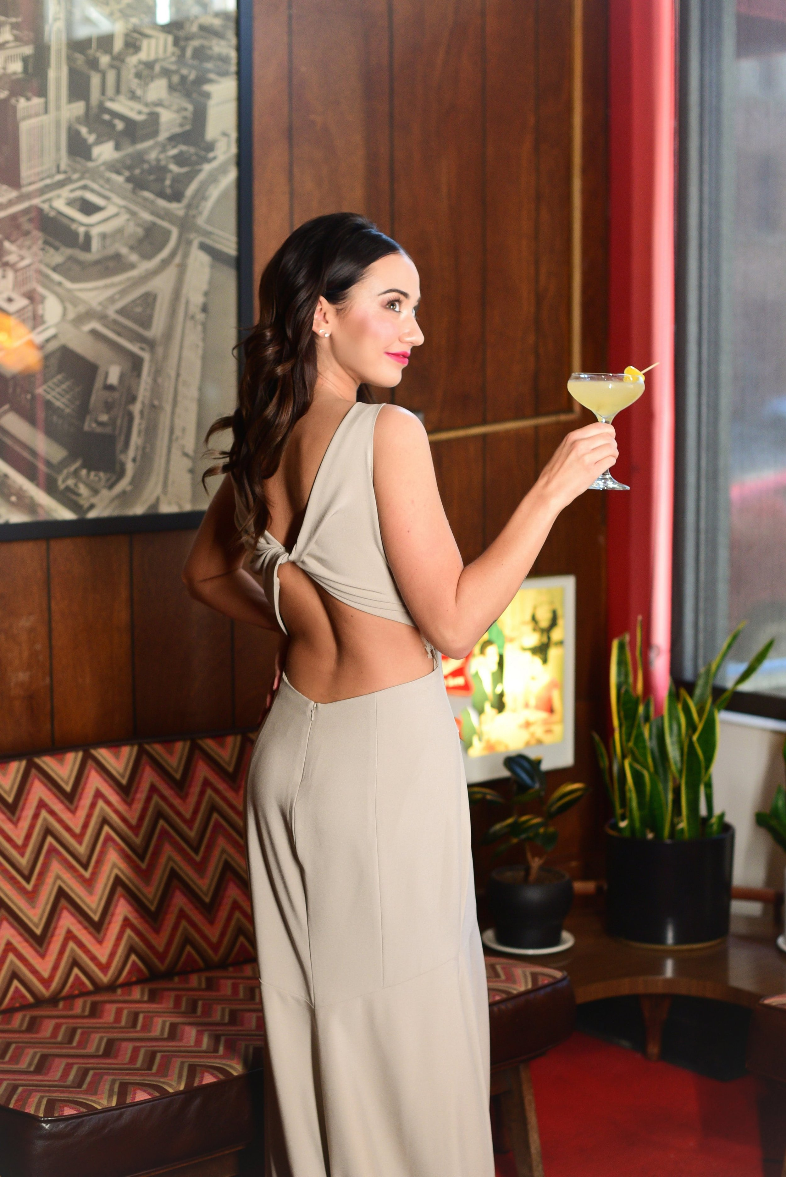 Cocktail party attire featured in 614 Magazine by Theia in Columbus Ohio