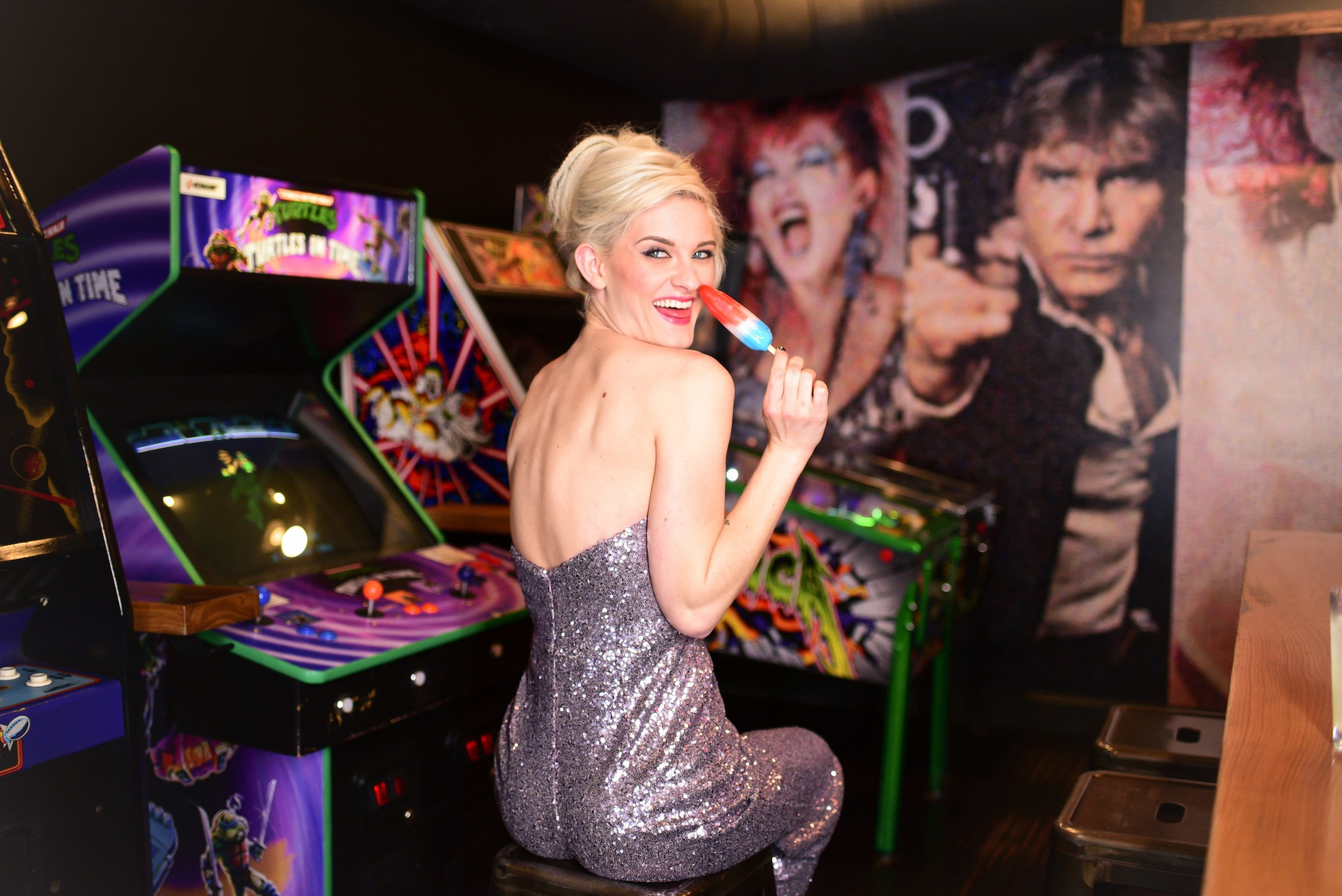 Theia jumpsuit Georgie featured with Bomb Pop at 16-Bit Bar and Arcade