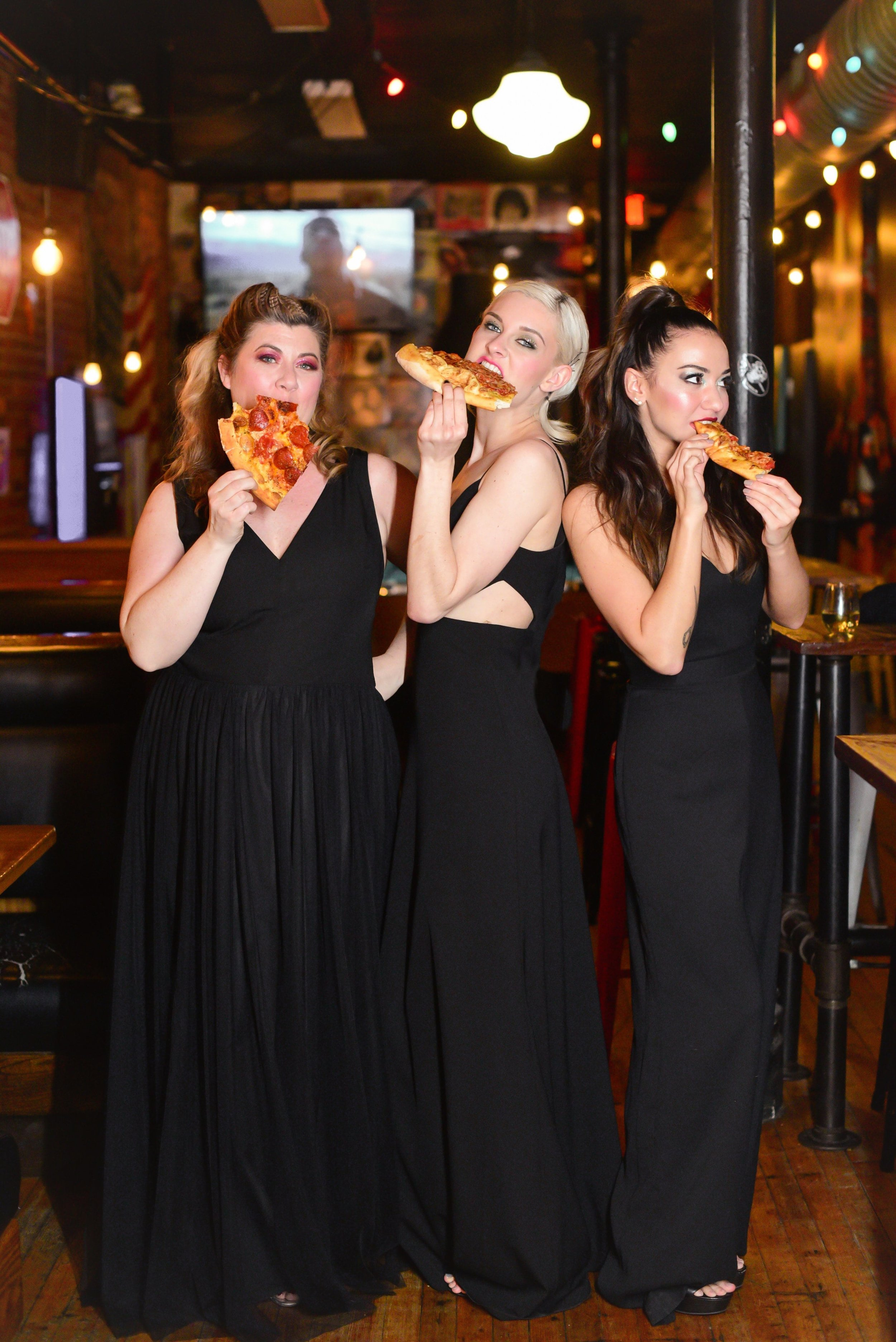 Mikey's Late Night Slice featured in bridesmaid dress styled shoot in Columbus Ohio