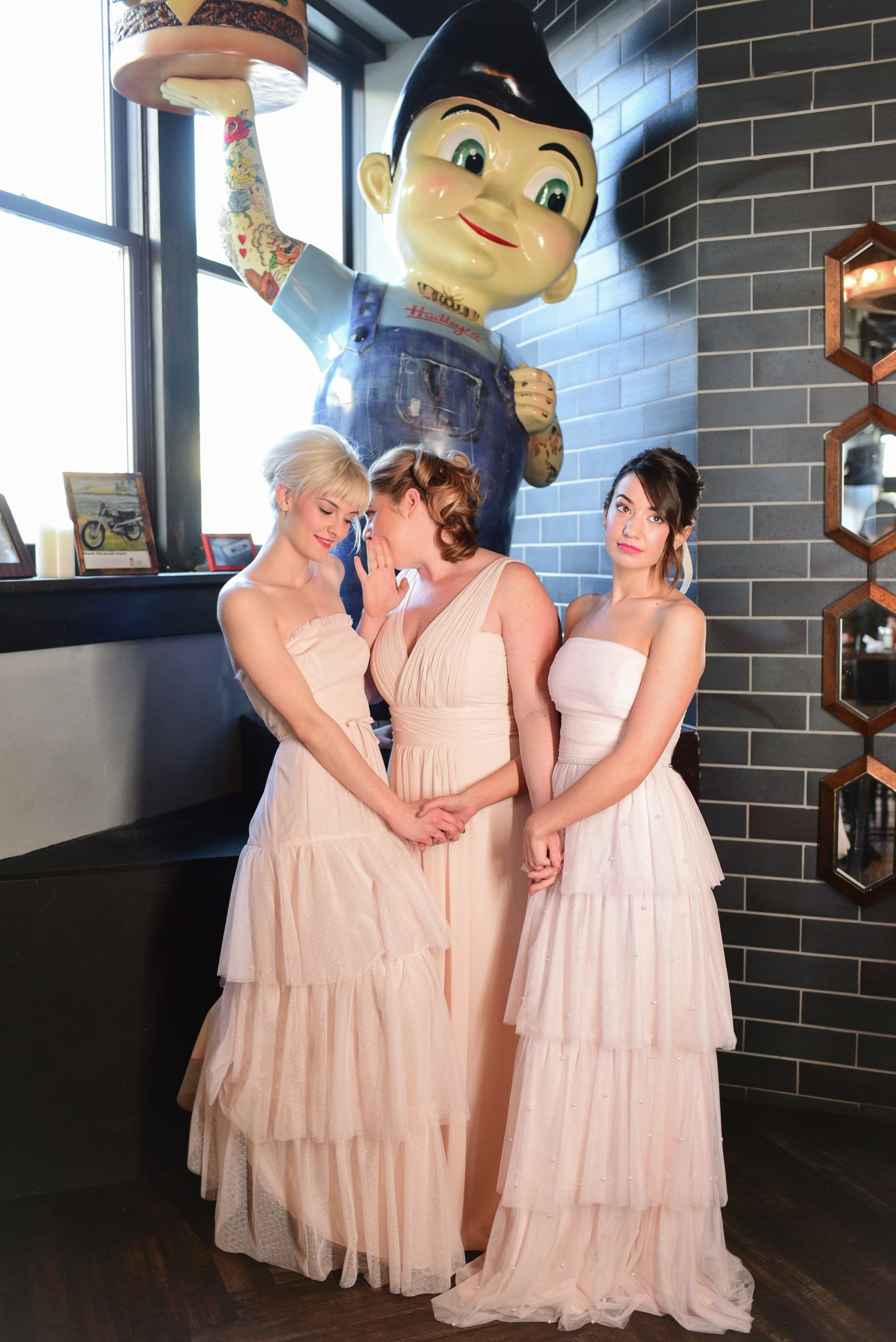 Pink Bridesmaids dresses featured at Hadley's Bar in Columbus Ohio styled shoot