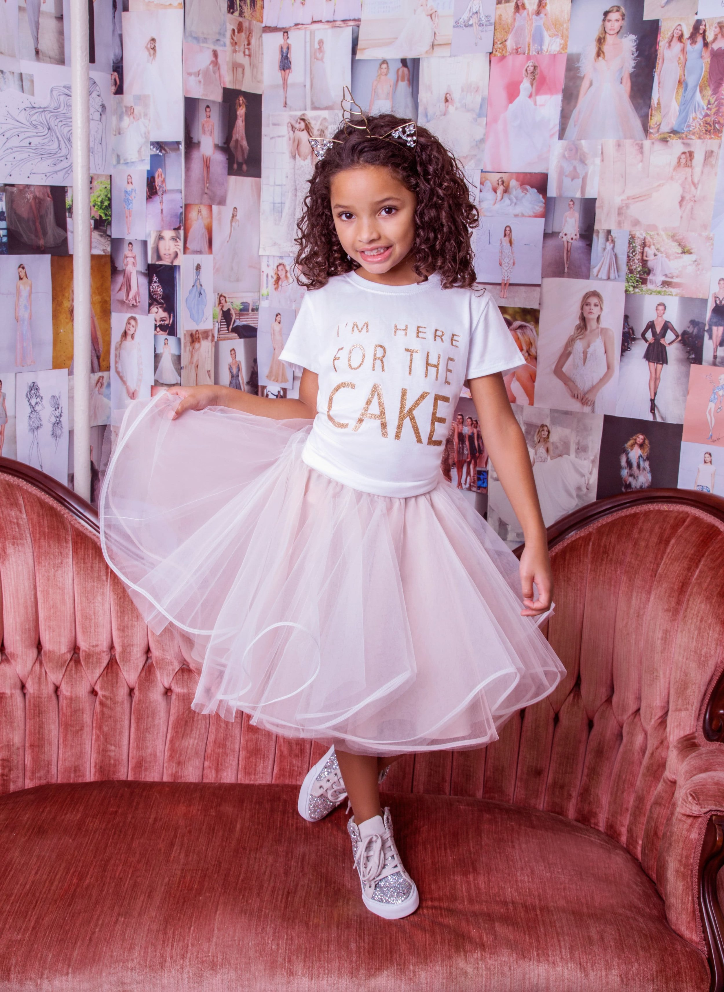 I'm here for the cake t-shirt by La Petite Hayley Paige with Blush Dot skirt in Columbus Ohio at Gilded Social