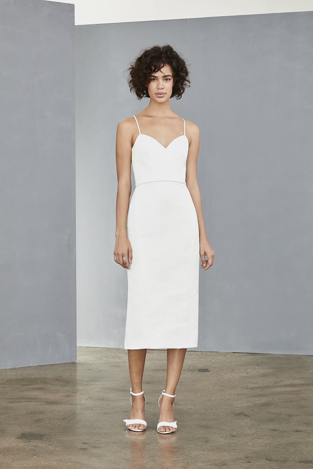 AMSALE Little White Dress for brides LW139 spaghetti strap shift faille dress at Gilded Social