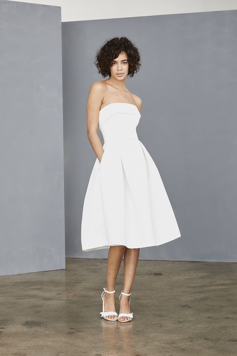 AMSALE Little White Dress for brides LW140 strapless faille dress with pockets at Gilded Social