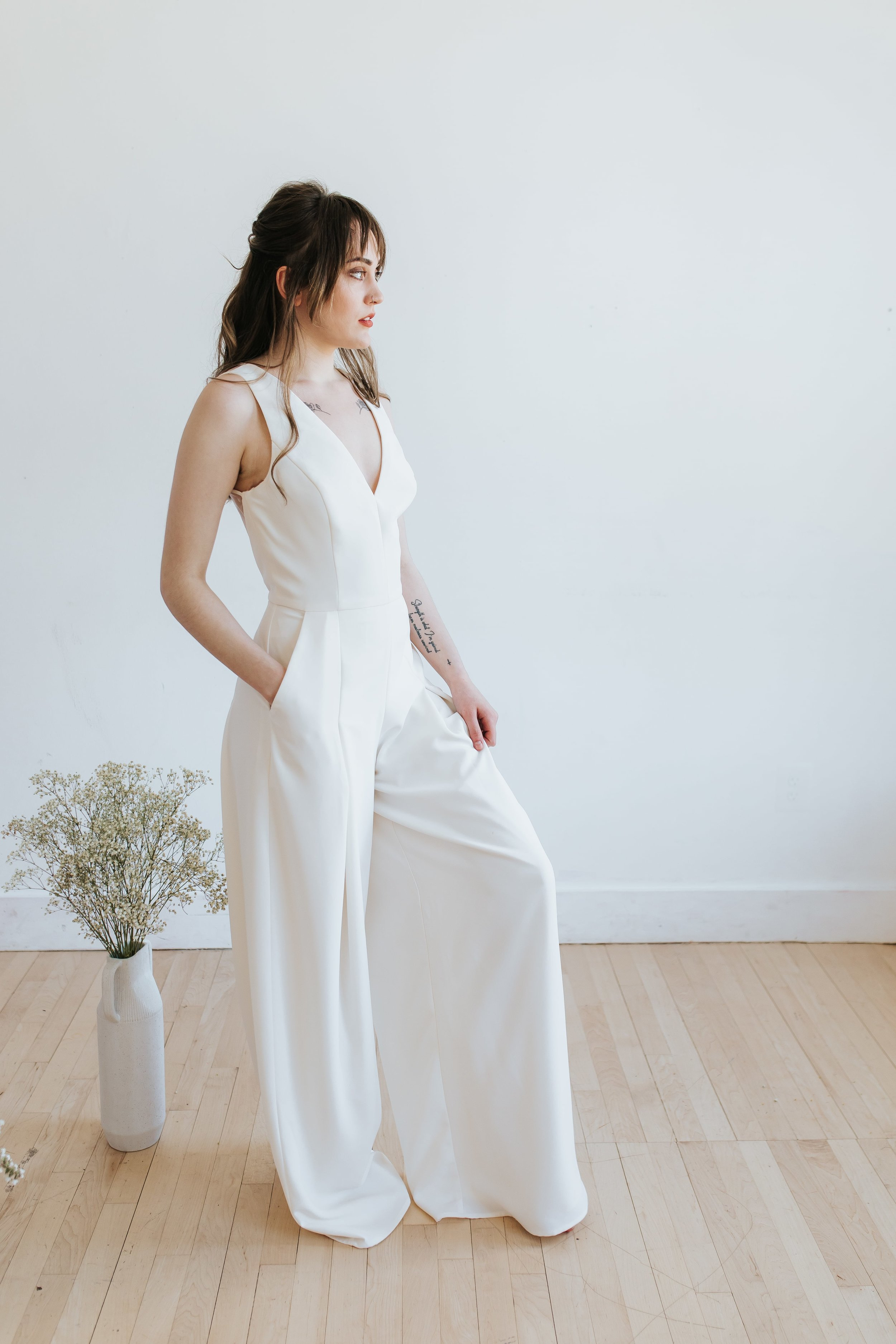 White Jumpsuit for Engagement photos, Rehearsal Dinners, and Wedding After Party