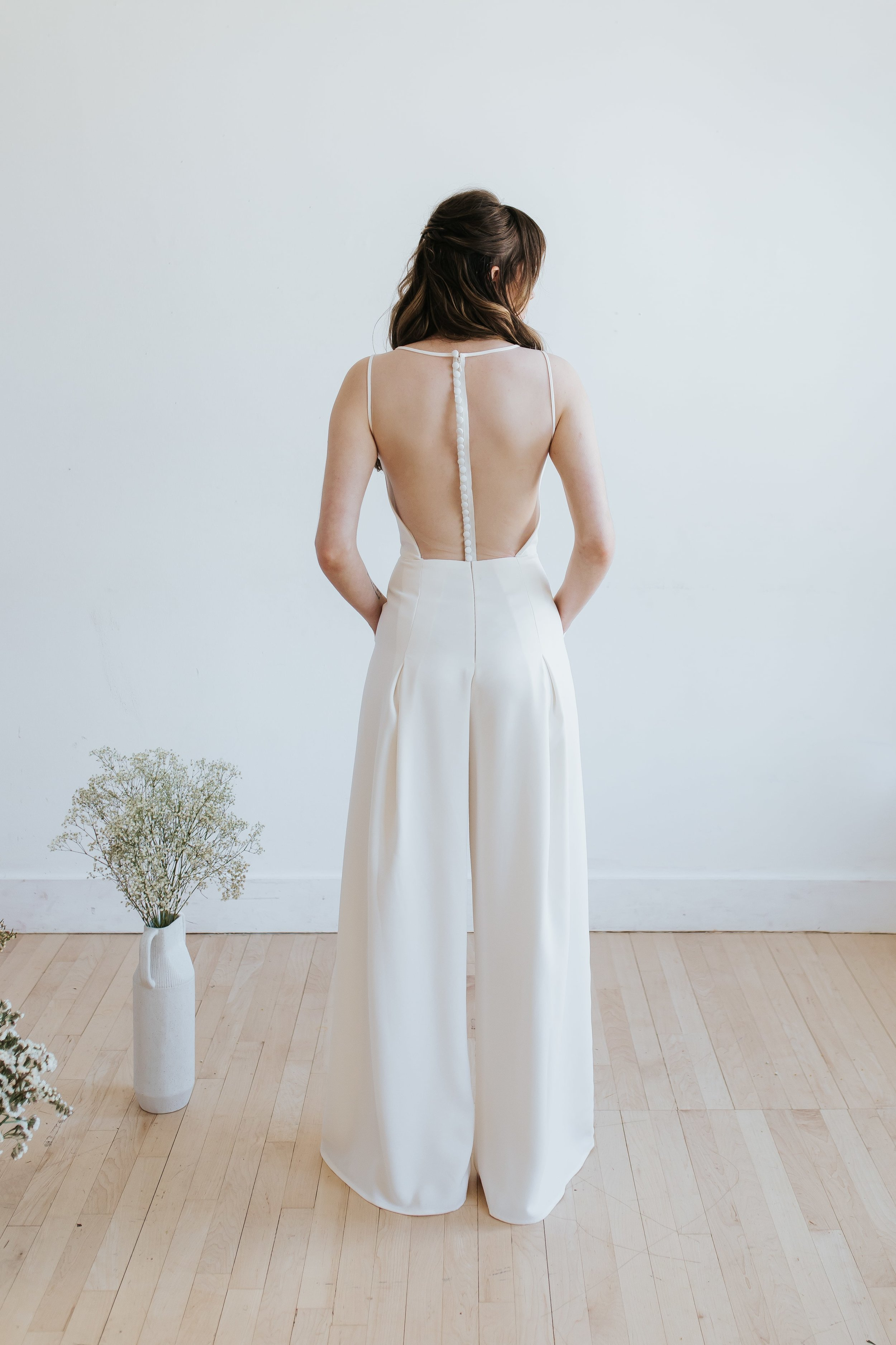 Back of Amsale Little White Dresses LW136 jumpsuit featured in Columbus Ohio styled shoot
