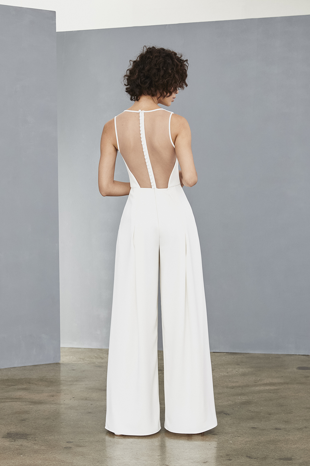 Illusion back of Amsale Little White Dresses style LW136 in white crepe