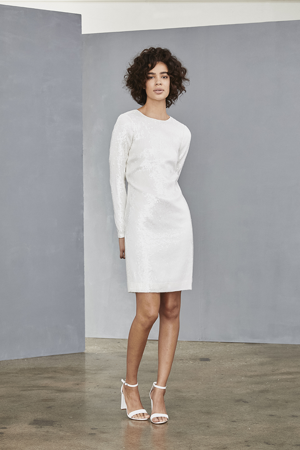 AMSALE Little White Dress for brides LW130 clear sequin mini dress at Gilded Social