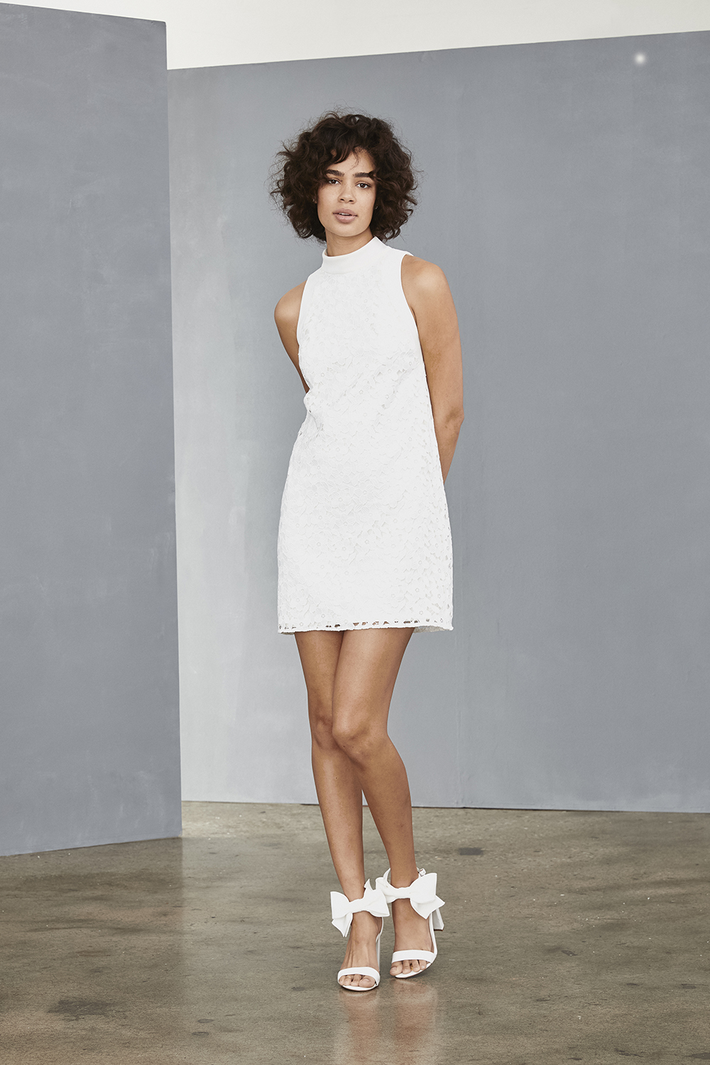 AMSALE Little White Dress for brides LW133 daisy guipure lace mini shift dress at Gilded Social