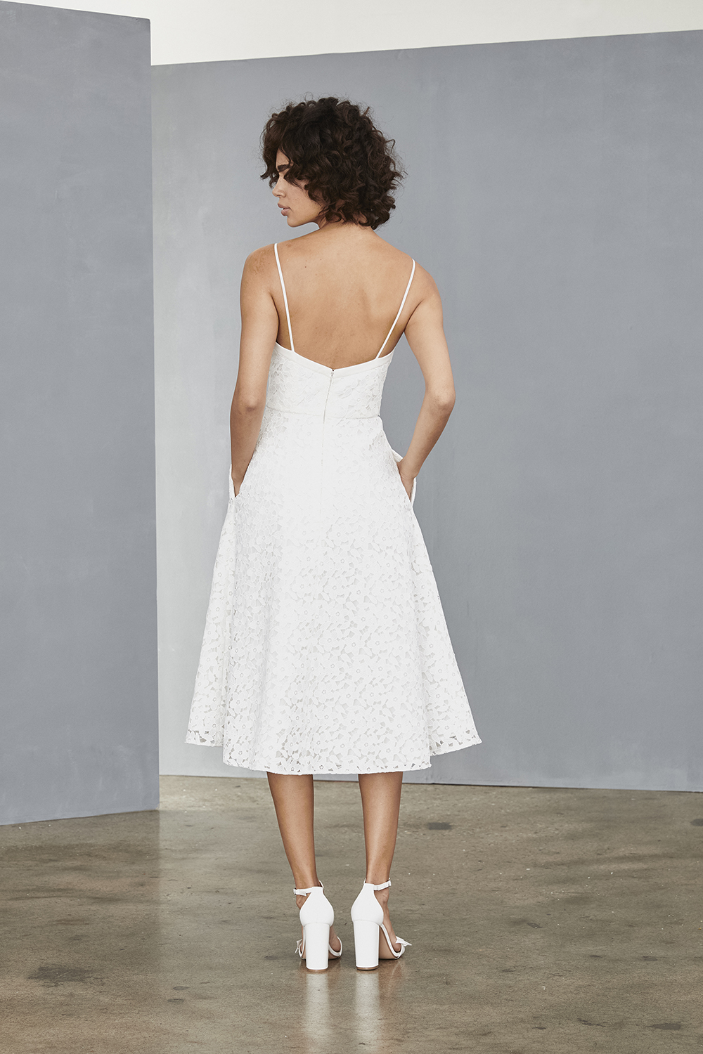 Back of spaghetti strap style LW132 by Amsale Little White Dresses