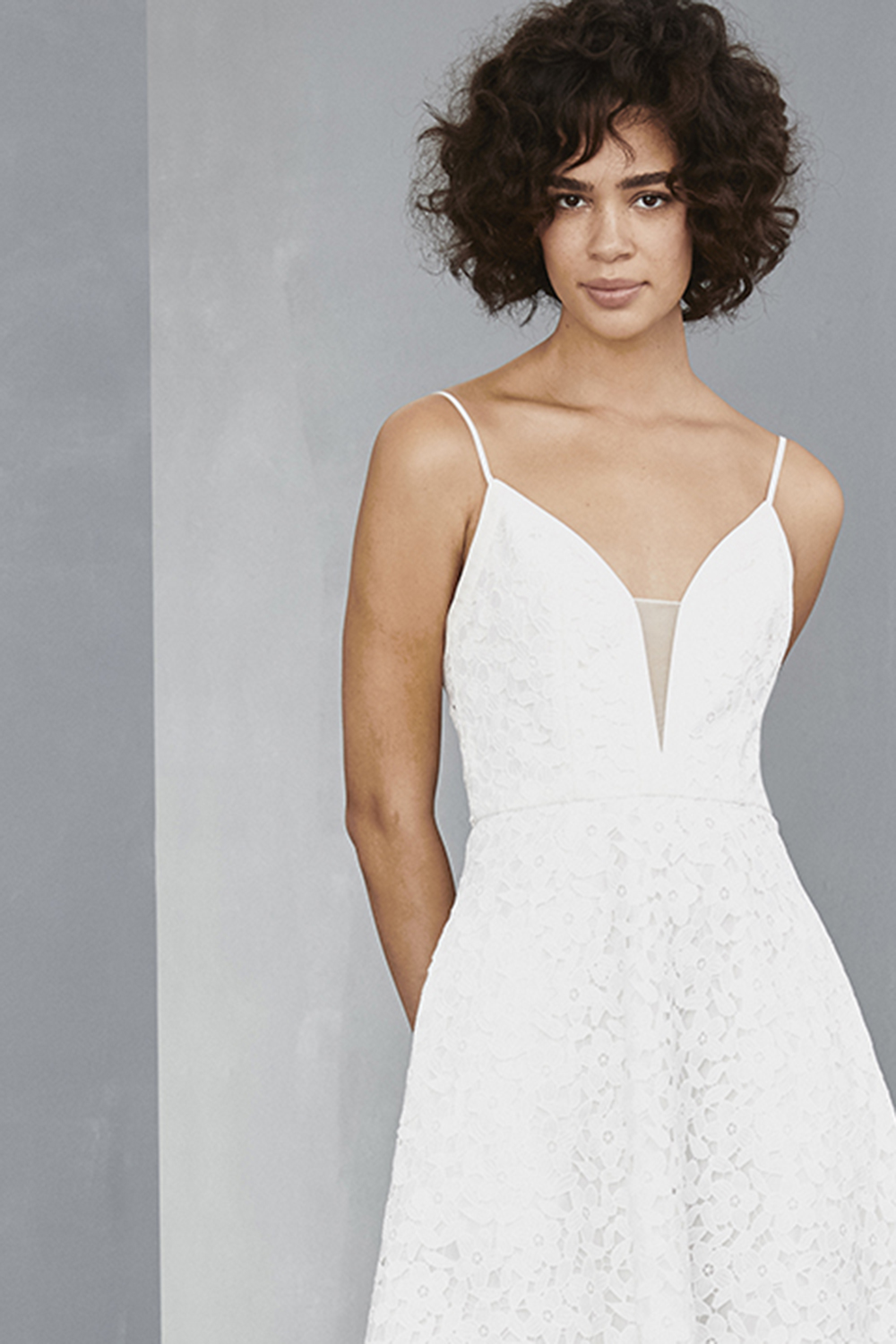 Deep V detail of LW132 by Amsale Little White Dresses elopement gown