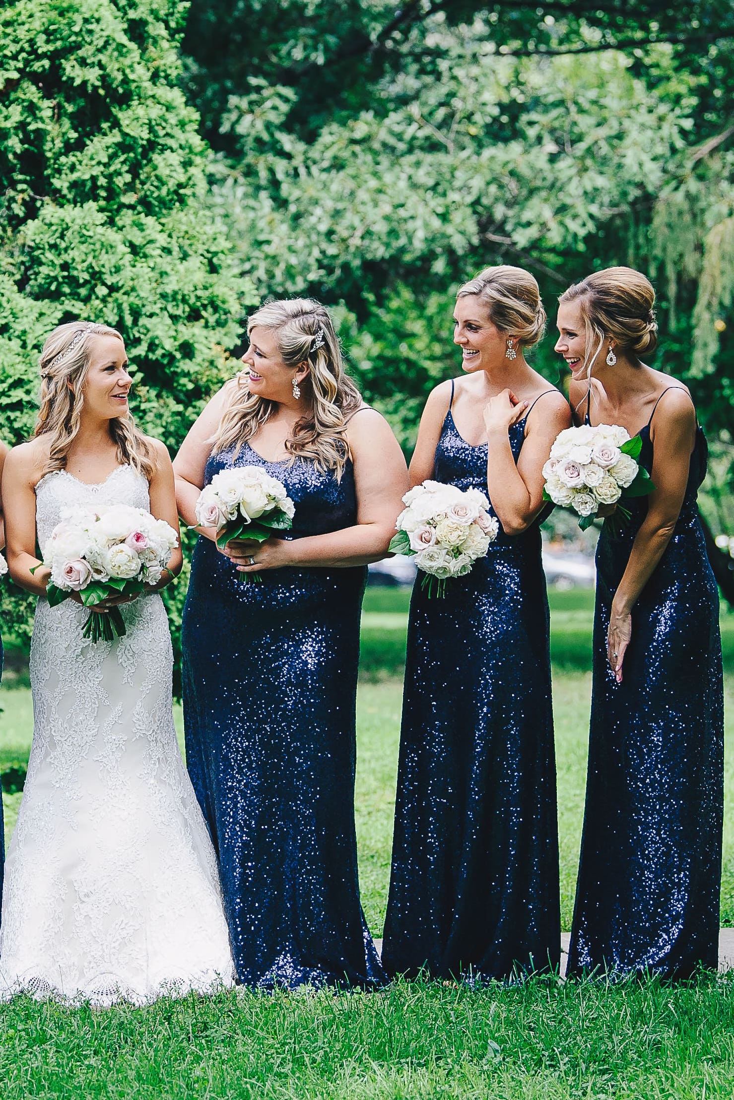 Bridesmaids in Jules style by Jenny Yoo in navy sequin
