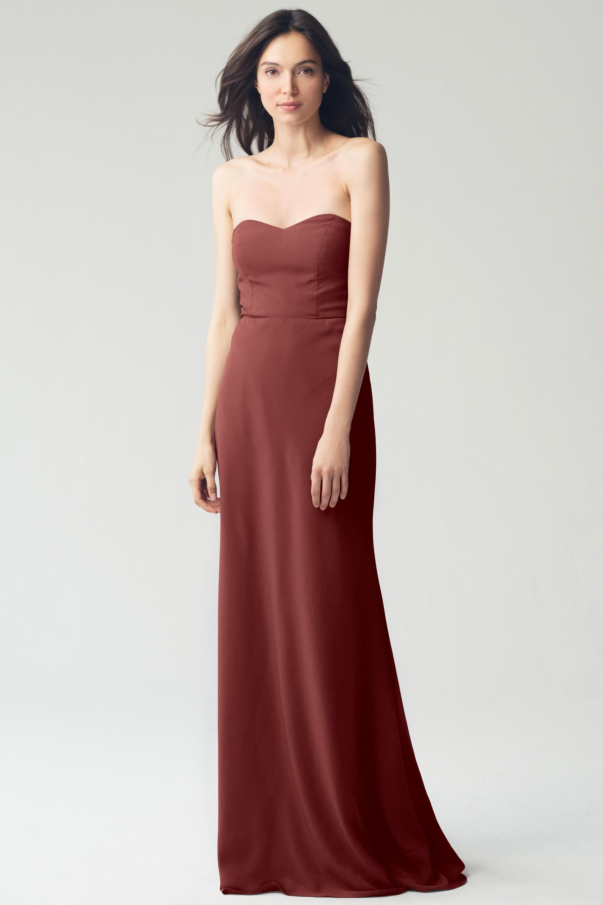 Strapless sweetheart dress by Jenny Yoo Bridesmaids style Kylie in Cinnamon Rose