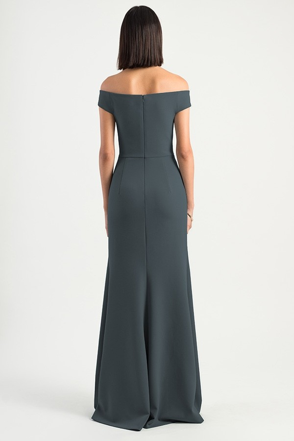 Back detail of Larson by Jenny Yoo Bridesmaids in knit crepe dark gray storm