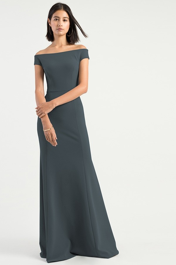 Off the Shoulder style Larson by Jenny Yoo Bridesmaids in storm knit crepe