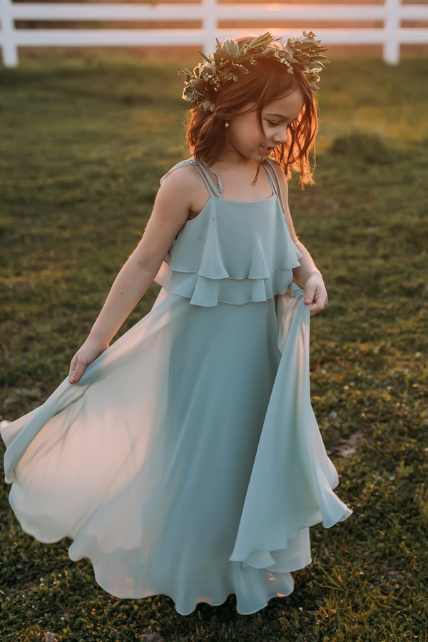 Jenny Yoo Collection flower girl style penny in morning mist chiffon