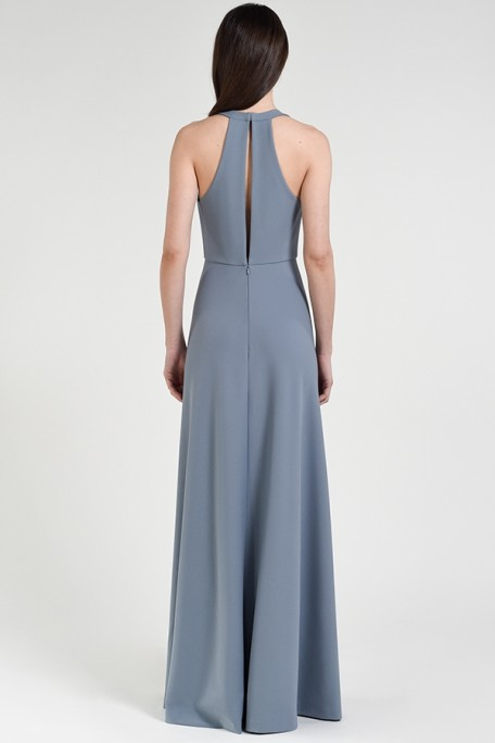 Jenny Yoo Bridesmaids Margot in Mayan Blue periwinkle dusty blue color knit crepe
