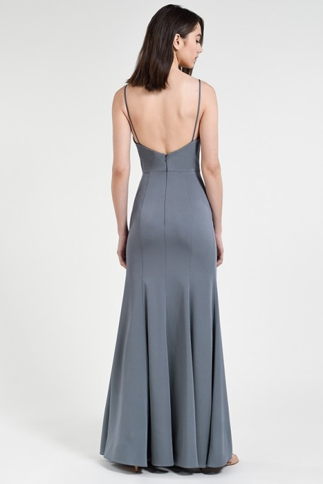 Back of Aniston simple luxe crepe bridesmaid gown by Jenny Yoo at Gilded Social in Columbus Ohio