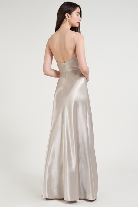 Back of Jenny Yoo Collection bridesmaid gown in latte satin back crepe