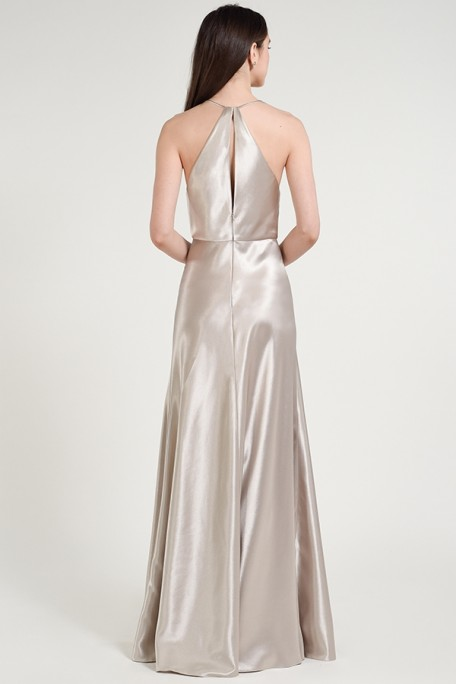 Keyhole back detail of Satin Back Crepe style Cameron by Jenny Yoo Bridesmaids in Columbus Ohio